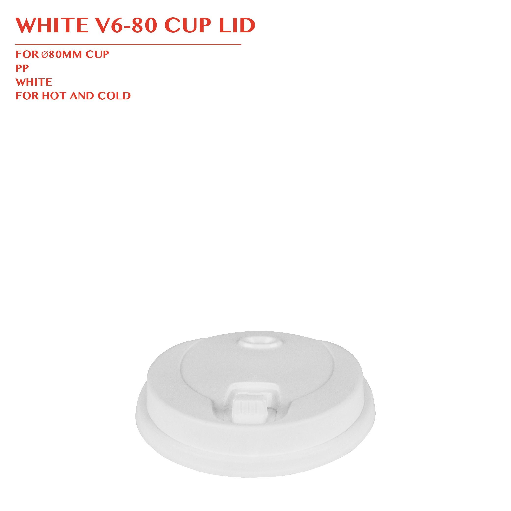 WHITE V6-80 CUP LID Ø80MM 1000PCS/CTN