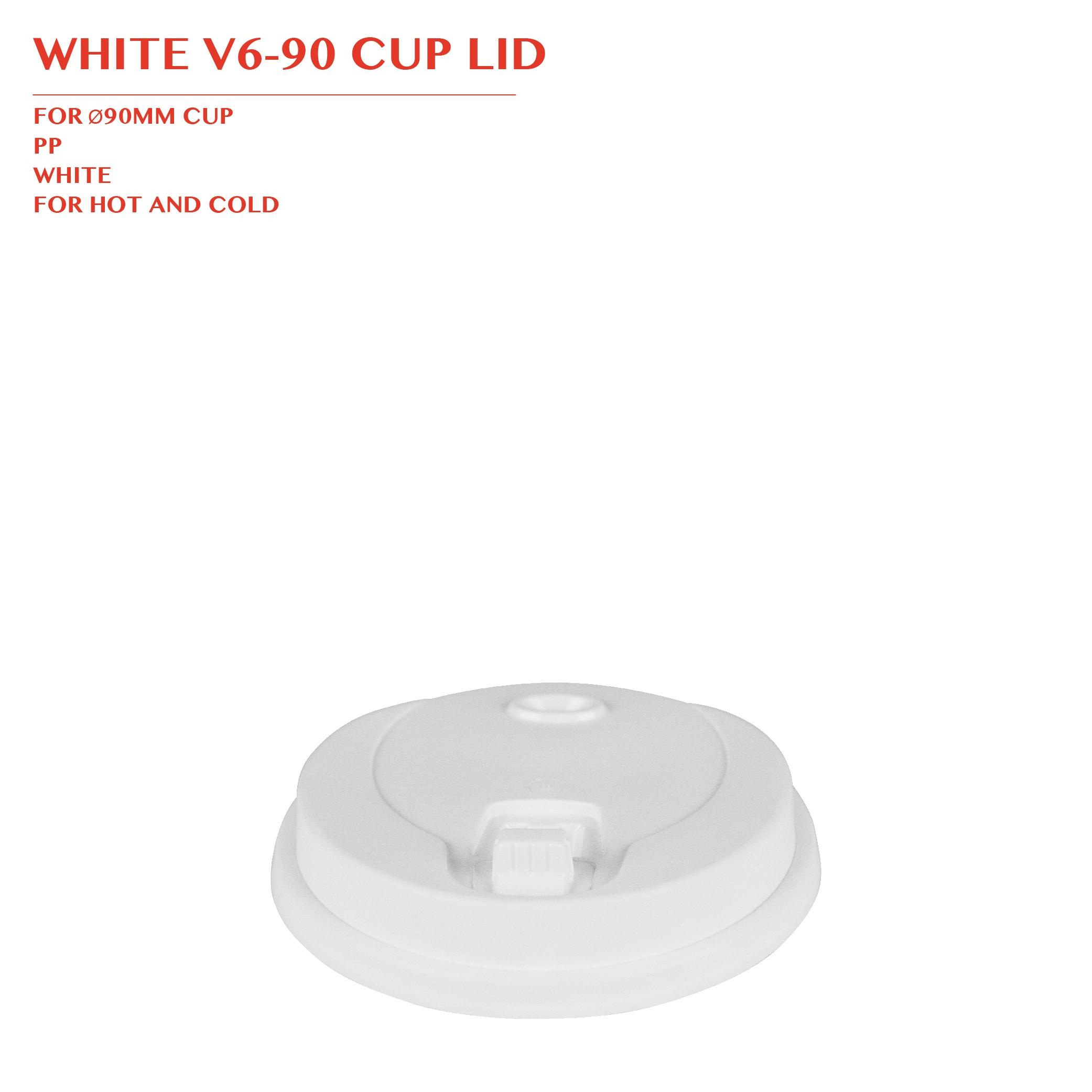 WHITE V6-90 CUP LID Ø90MM 1000PCS/CTN