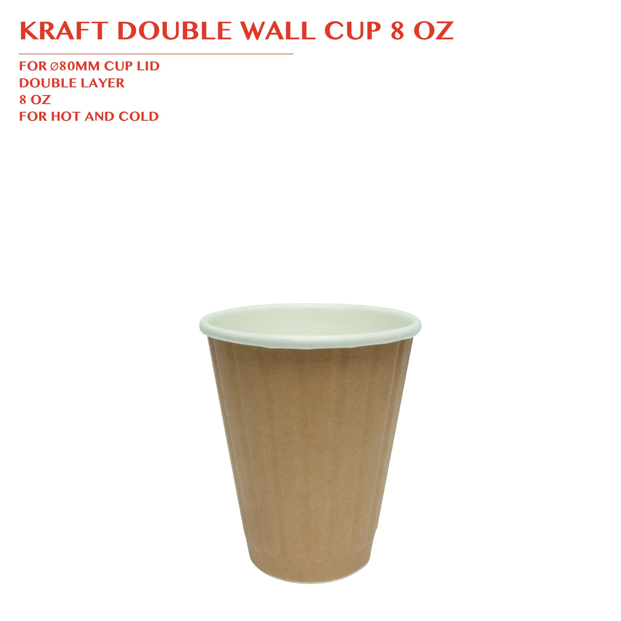 PRE-ORDER KRAFT DOUBLE WALL CUP 8 OZ 1000PCS/CTN