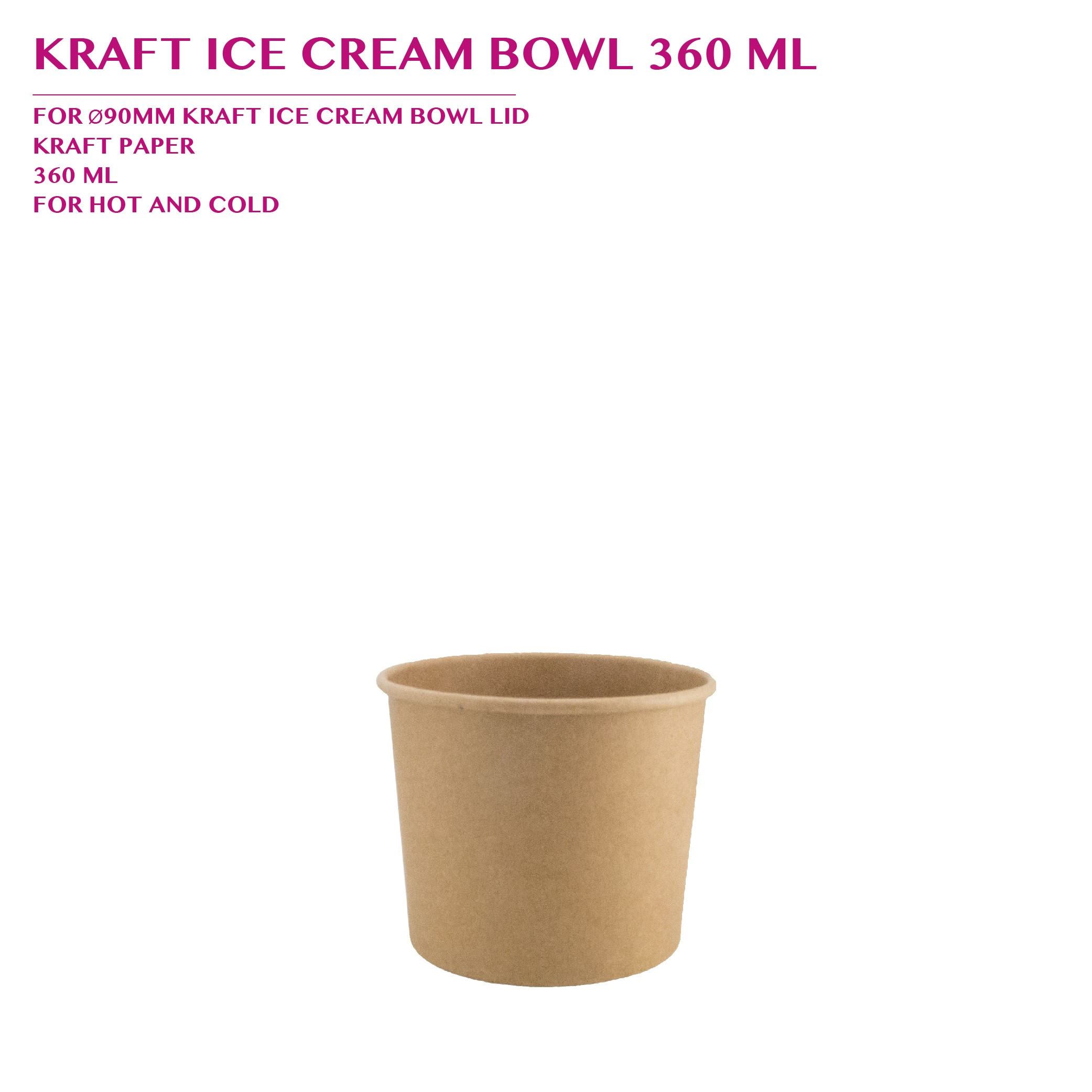 PRE-ORDER KRAFT ICE CREAM BOWL 360 ML PCS/CTN