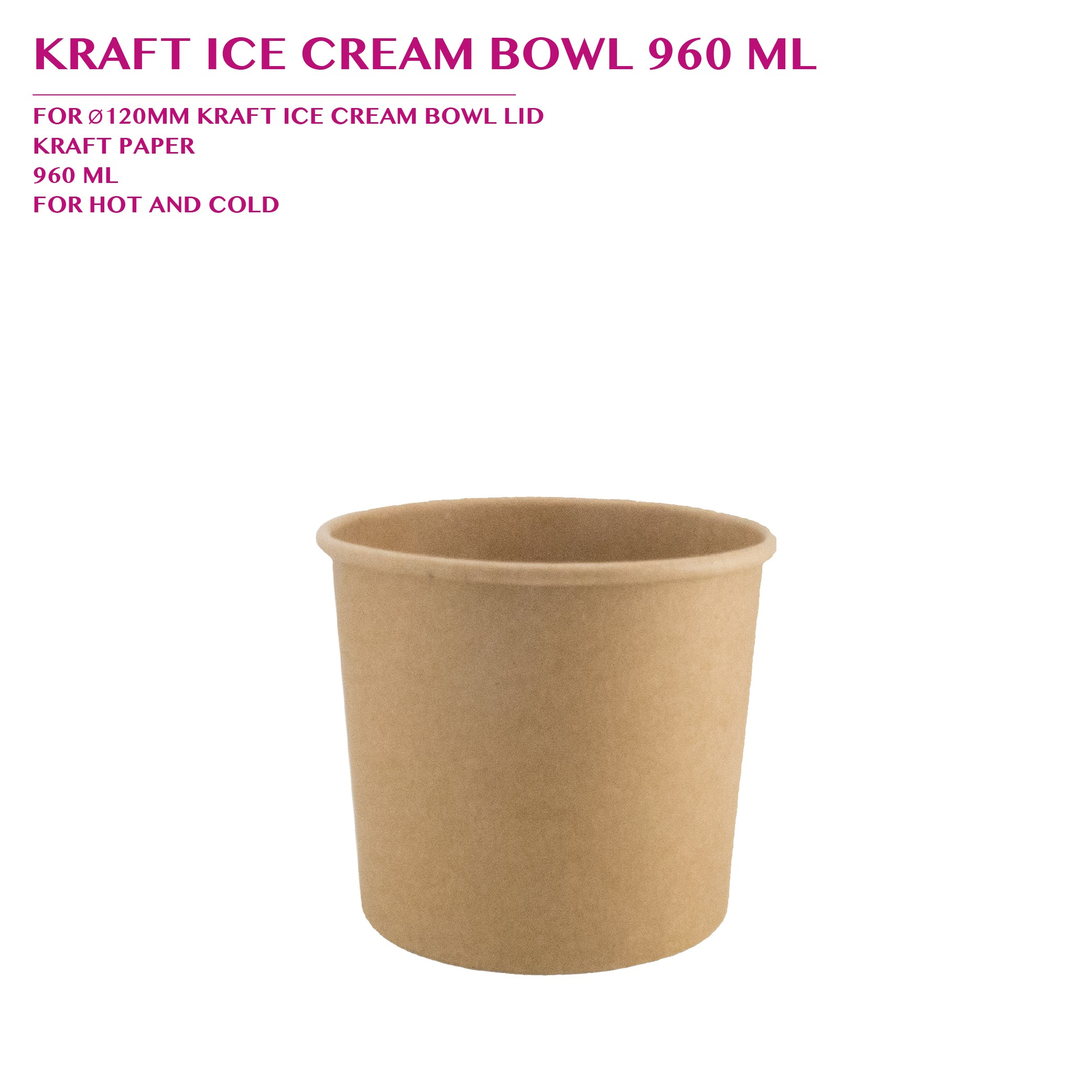 PRE-ORDER KRAFT ICE CREAM BOWL 960 ML PCS/CTN