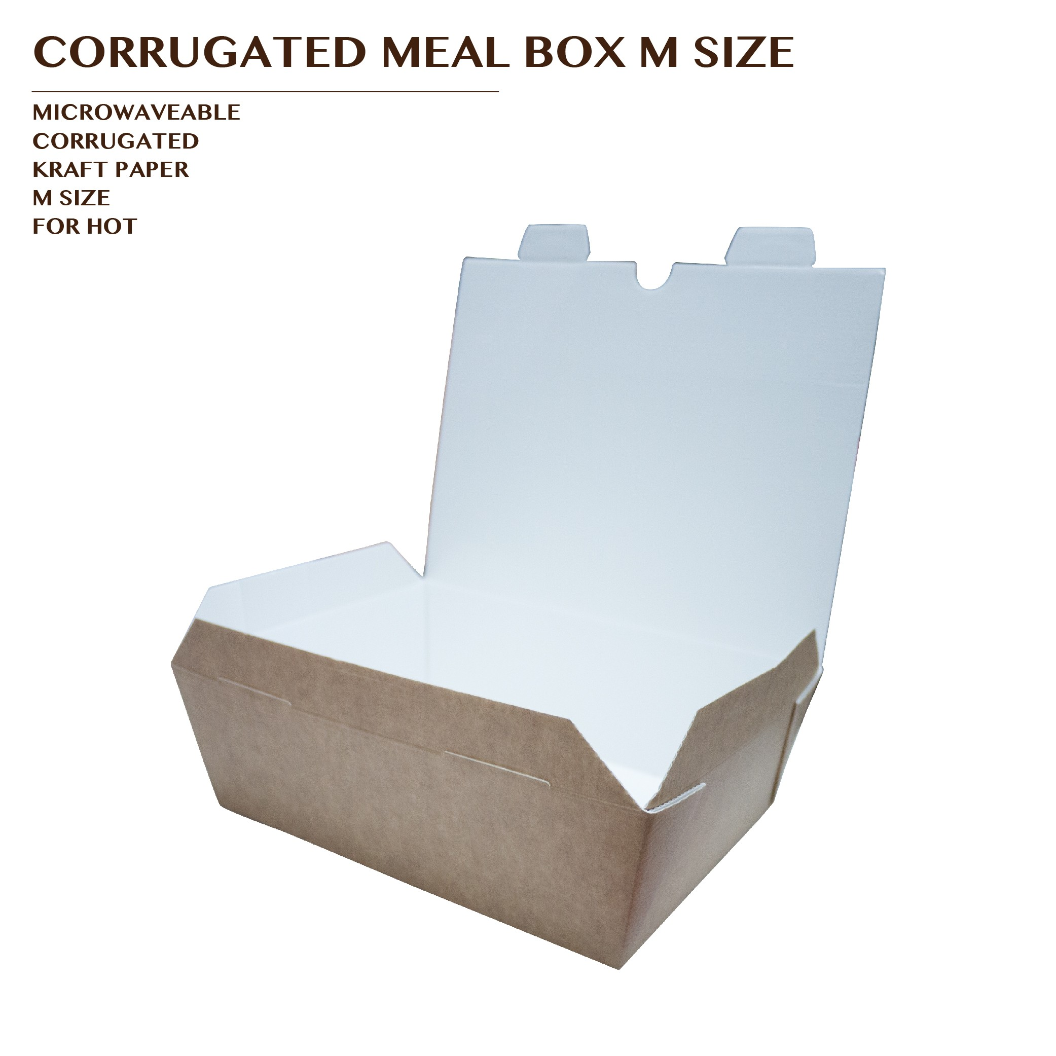 PRE-ORDER CORRUGATED MEAL BOX KRAFT M SIZE 1000PCS/CTN