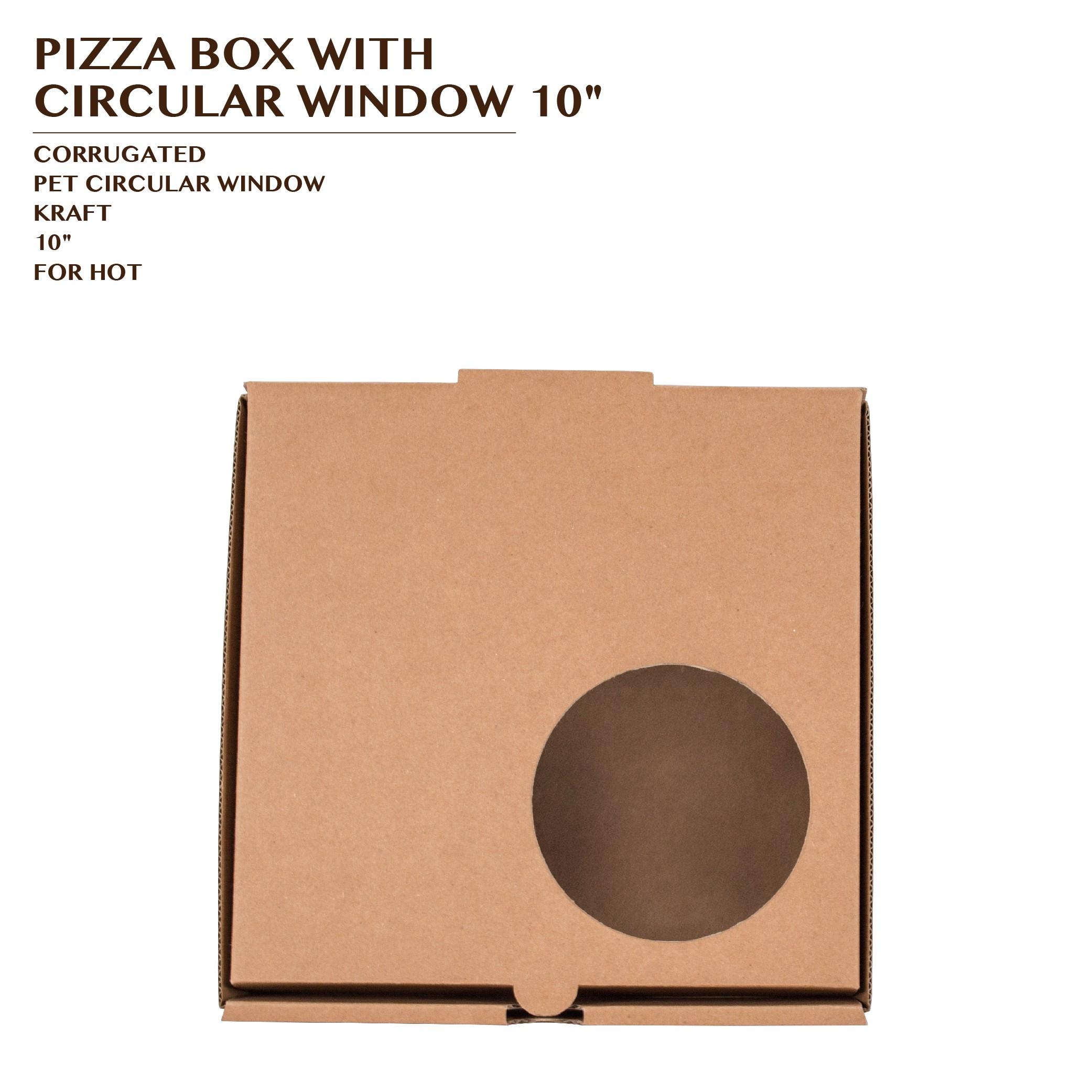 "PRE-ORDER PIZZA BOX WITH CIRCULAR WINDOW 10"""