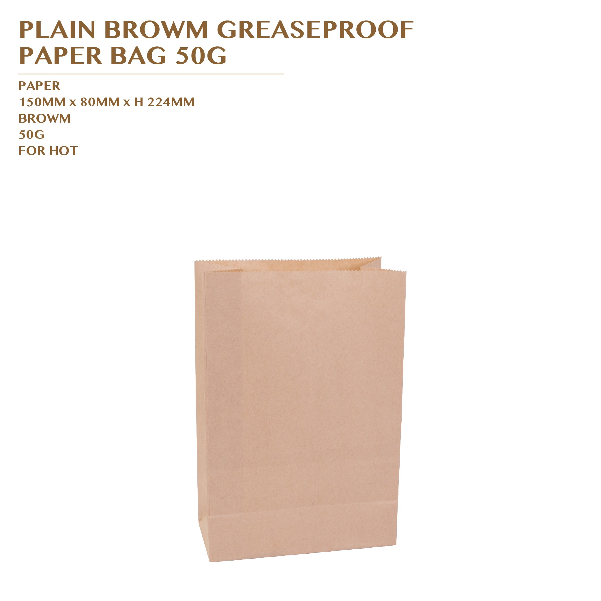 PLAIN BROWN GREASEPROOF  PAPER BAG 50G 50PCS 30PKTS/CTN