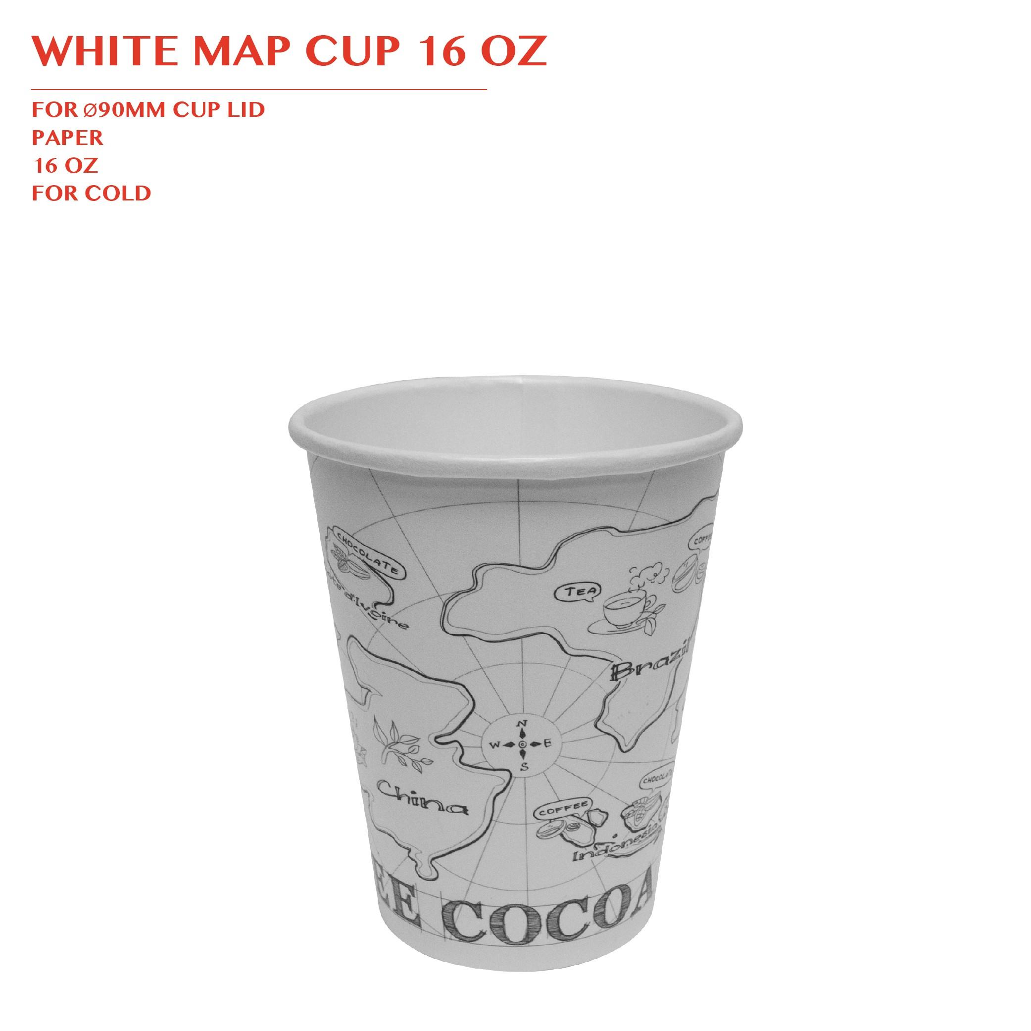 PRE-ORDER WHITE MAP CUP 16 OZ 1000PCS/CTN
