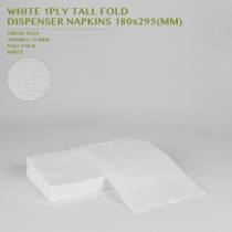 PRE-ORDER WHITE 1PLY TALL FOLD  DISPENSER NAPKINS 180x295 MM 50PCS/20PKTS/CTN