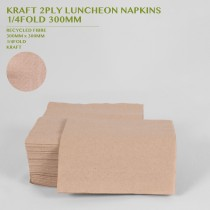 PRE-ORDER KRAFT 2PLY LUNCHEON NAPKINS  1/4FOLD 300MM 100PACK