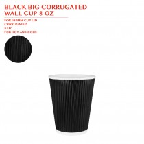 BLACK BIG CORRUGATED  WALL CUP 8 OZ 500PCS/CTN