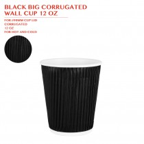 BLACK BIG CORRUGATED  WALL CUP 12 OZ 500PCS/CTN