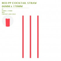 PRE-ORDER RED PP COCKTAIL STRAW Ø6MM x 170MM