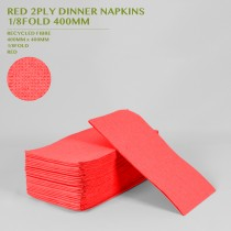 PRE-ORDER RED 2PLY DINNER NAPKINS  1/8FOLD 400MM 100PACK