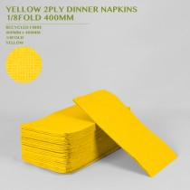 PRE-ORDER YELLOW 2PLY DINNER NAPKINS  1/8FOLD 400MM 100PACK