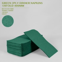 PRE-ORDER GREEN 2PLY DINNER NAPKINS  1/8FOLD 400MM 100PACK