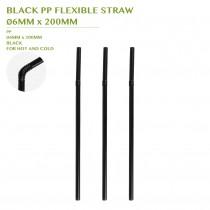 PRE-ORDER BLACK PP FLEXIBLE STRAW  Ø6MM x 200MM
