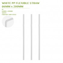 PRE-ORDER WHITE PP FLEXIBLE STRAW Ø6MM x 200MM