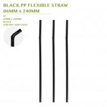 PRE-ORDER BLACK PP FLEXIBLE STRAW Ø6MM x 240MM