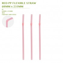PRE-ORDER RED PP FLEXIBLE STRAW Ø8MM x 235MM