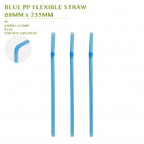 PRE-ORDER BLUE PP FLEXIBLE STRAW Ø8MM x 235MM