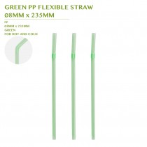 PRE-ORDER GREEN PP FLEXIBLE STRAW Ø8MM x 235MM