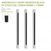 PRE-ORDER INDIVIDUALLY BOPP WRAPPED BLACK  PP COCKTAIL STRAW Ø6MM x 170MM