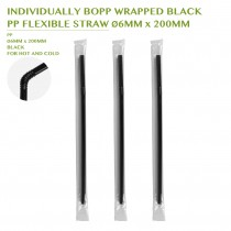 PRE-ORDER INDIVIDUALLY BOPP WRAPPED BLACK  PP FLEXIBLE STRAW Ø6MM x 200MM