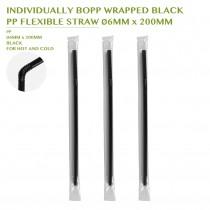 PRE-ORDER INDIVIDUALLY BOPP WRAPPED BLACK  PP FLEXIBLE STRAW Ø6MM x 200MM