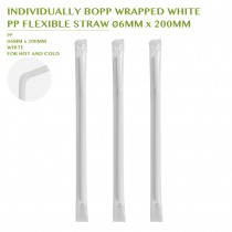 PRE-ORDER INDIVIDUALLY BOPP WRAPPED WHITE  PP FLEXIBLE STRAW Ø6MM x 200MM