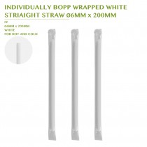 PRE-ORDER INDIVIDUALLY BOPP WRAPPED WHITE  STRIAIGHT STRAW Ø6MM x 200MM