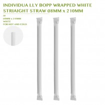 PRE-ORDER INDIVIDUA LLY BOPP WRAPPED WHITE  STRIAIGHT STRAW Ø8MM x 210MM