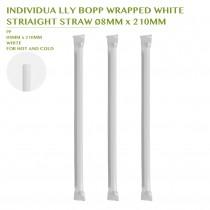 PRE-ORDER INDIVIDUA LLY BOPP WRAPPED WHITE  STRIAIGHT STRAW Ø8MM x 210MM