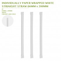 PRE-ORDER INDIVIDUALLY PAPER WRAPPED WHITE  STRIAIGHT STRAW Ø6MM x 200MM
