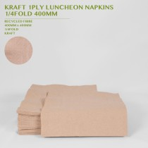 PRE-ORDER KRAFT 1PLY LUNCHEON NAPKINS  1/4FOLD 400MM 250PACK