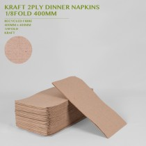 PRE-ORDER KRAFT 2PLY DINNER NAPKINS  1/8FOLD 400MM 100PACK
