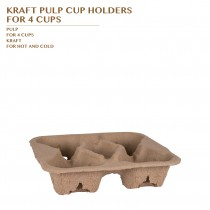 KRAFT PULP CUP HOLDERS FOR 4 CUP 300PCS/CTN