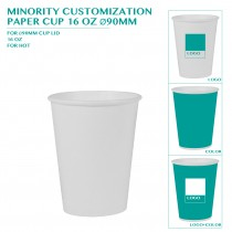 PRE-ORDER MINORITY CUSTOMIZATION  PAPER CUP 16 OZ Ø90MM 4000PCS