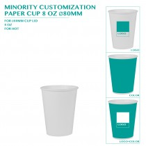 PRE-ORDER MINORITY CUSTOMIZATION  PAPER CUP 8 OZ Ø80MM 8000PCS
