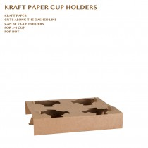 PRE-ORDER KRAFT PAPER CUP HOLDER  FOR 4 CUPS PCS/CTN