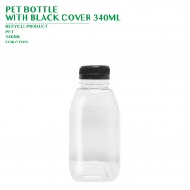PRE-ORDER PET BOTTLE  WITH BLACK COVER 340ML 200PCS/CTN