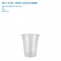 PRE-ORDER PET CUP 14OZ Ø92(93)MM PCS/CTN