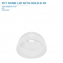 PRO-ORDER PET DOME LID WITH HOLD D-98 Ø98MM 1000PCS/CTN