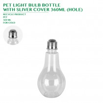 PRE-ORDER PET LIGHT BULB BOTTLE  WITH SLIVER COVER 360ML (HOLE)
