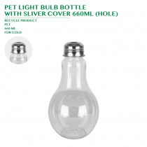 PRE-ORDER PET LIGHT BULB BOTTLE  WITH SLIVER COVER 660ML (HOLE)