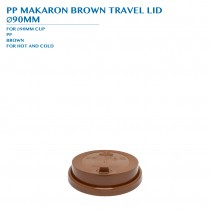 PRE-ORDER PP MACARON BROWN TRAVEL LID  Ø90MM PCS/CTN