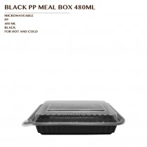 PRE-ORDER BLACK PP MEAL BOX 480ML 150SET/CTN