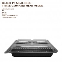 PRE-ORDER BLACK PP MEAL BOX- THREE COMPARTMENT 960ML 150SET/CTN