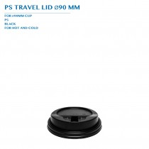 PRE-ORDER BLACK PS TRAVEL LID Ø90 MM PCS / CTN