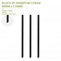 PRE-ORDER BLACK PP SHARPEND STRAW  Ø8MM x 210MM