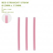 PRE-ORDER RED STRIAIGHT STRAW  Ø12MM x 175MM