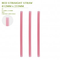 PRE-ORDER RED STRIAIGHT STRAW  Ø12MM x 255MM