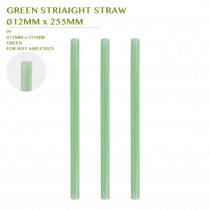 PRE-ORDER GREEN STRIAIGHT STRAW  Ø12MM x 255MM